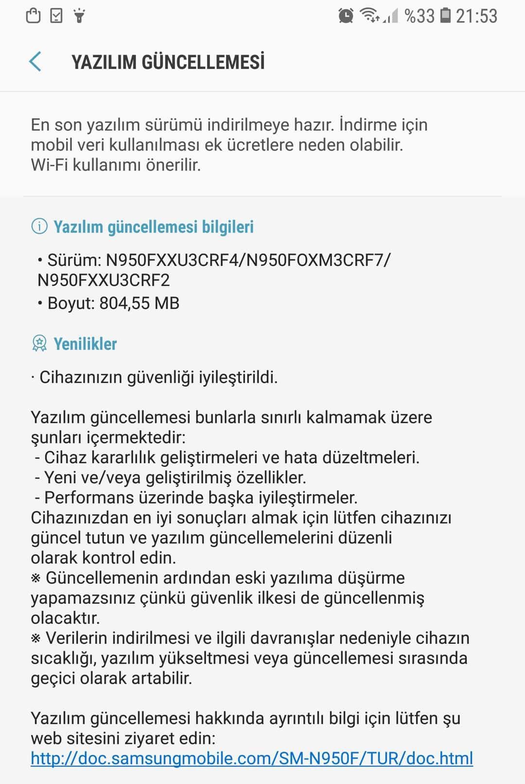 N950FXXU3CRF4 - Note 8 için yeni güncelleme