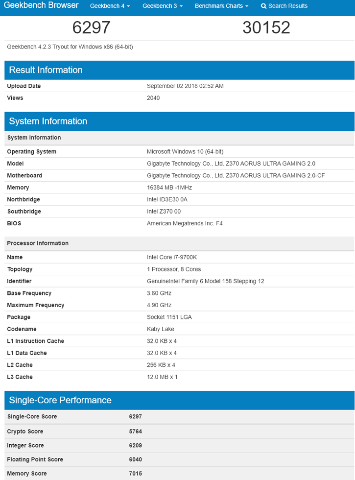 core i7-9700K geekbench