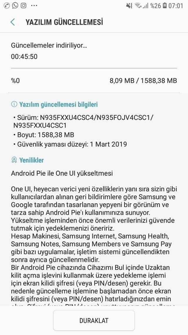 Galaxy Note 7 FE Android Pie