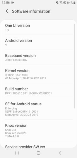 galaxy j6 android pie