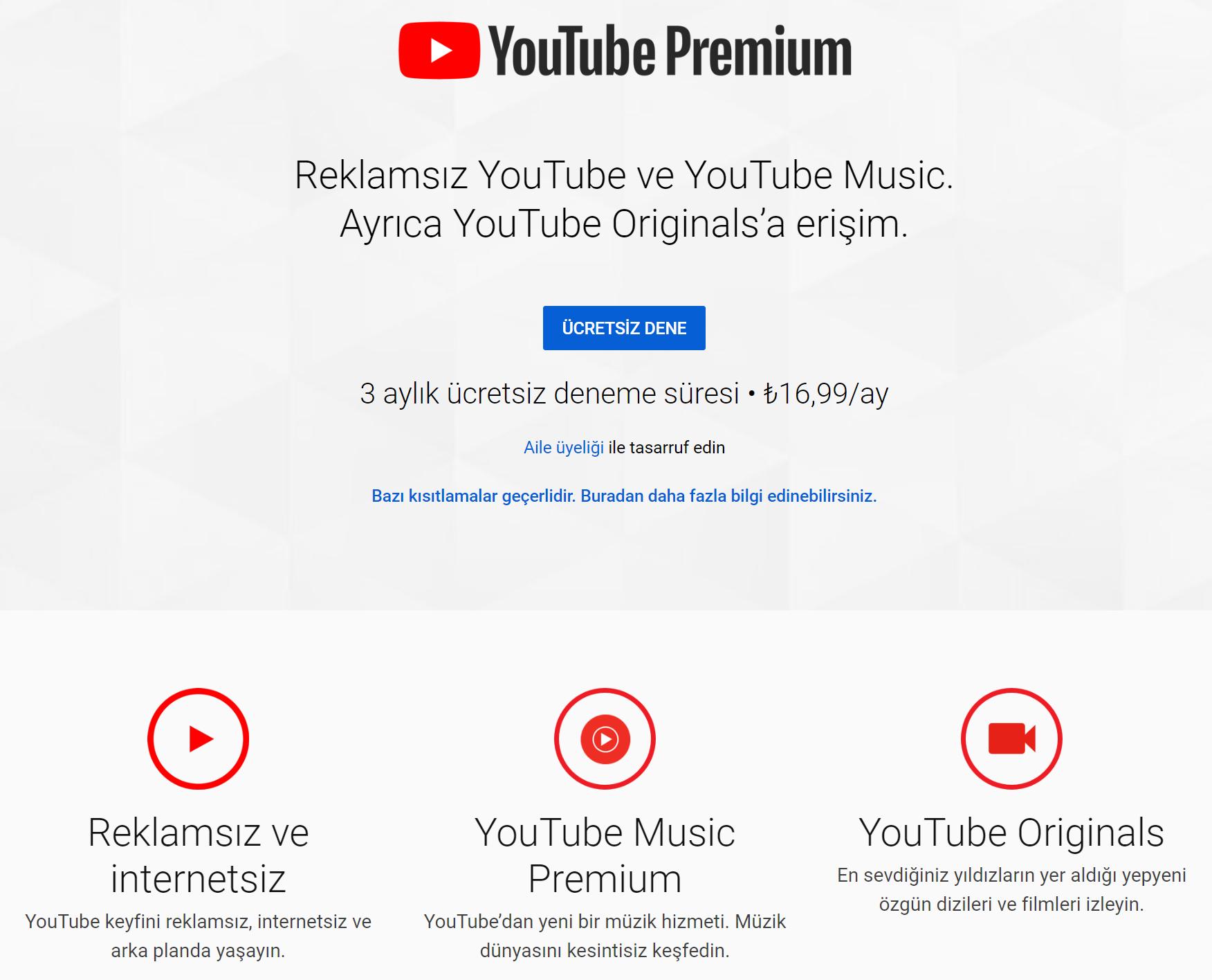 YouTube Premium fiyatı