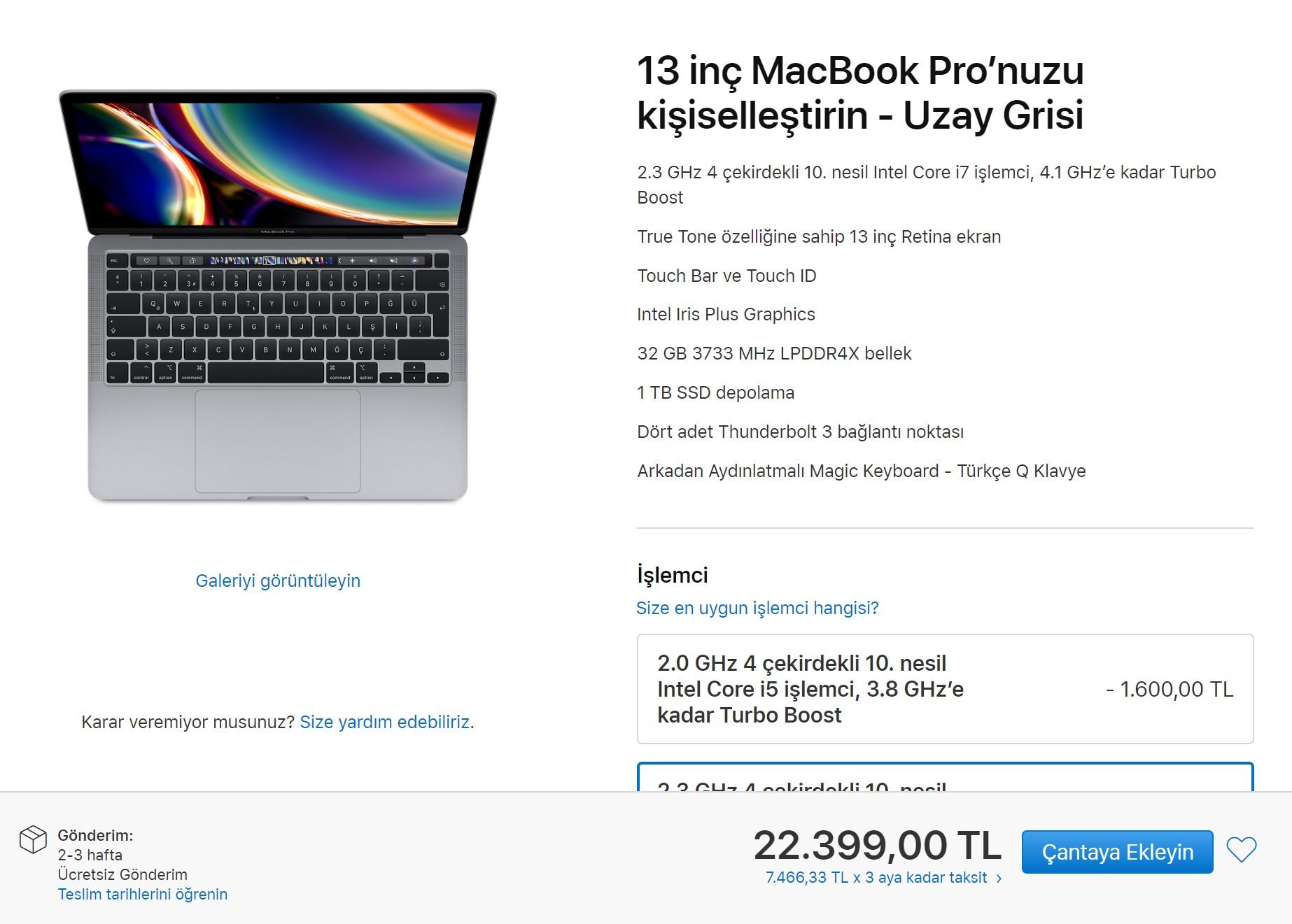 Yeni 13 inç Macbook Pro 2020 özellikleri