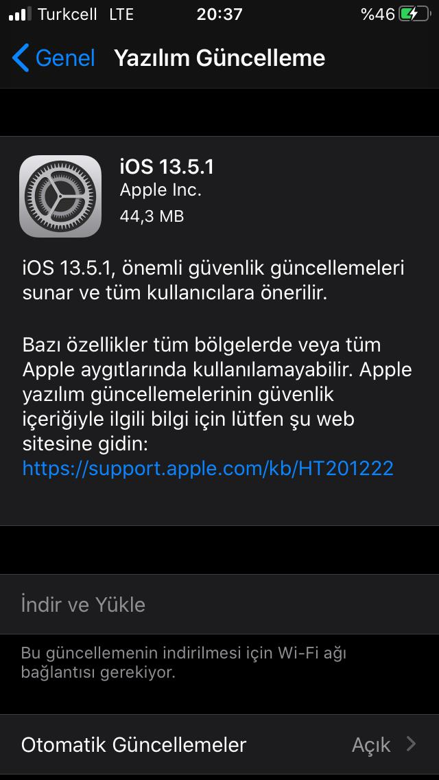 apple ios 13.5.1 güncellemesi