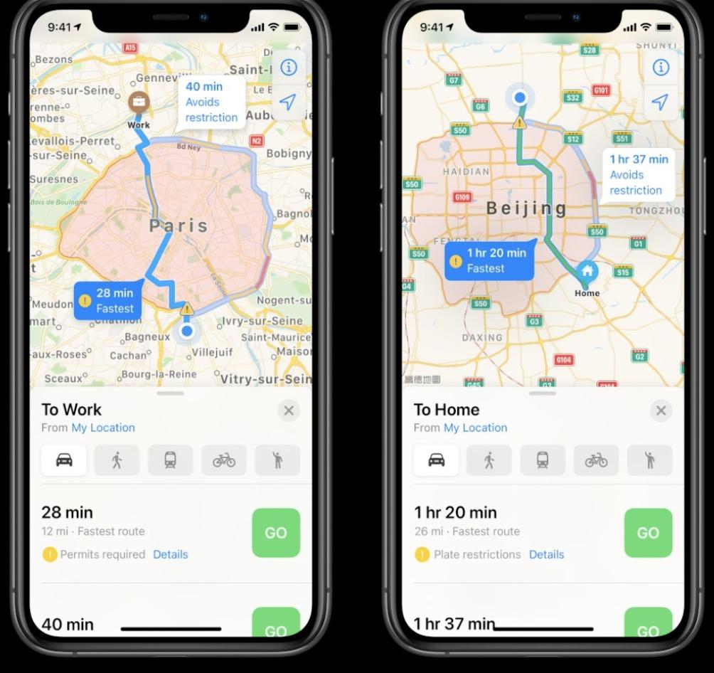 iOS 14: elektrikli araçlar için özel rota