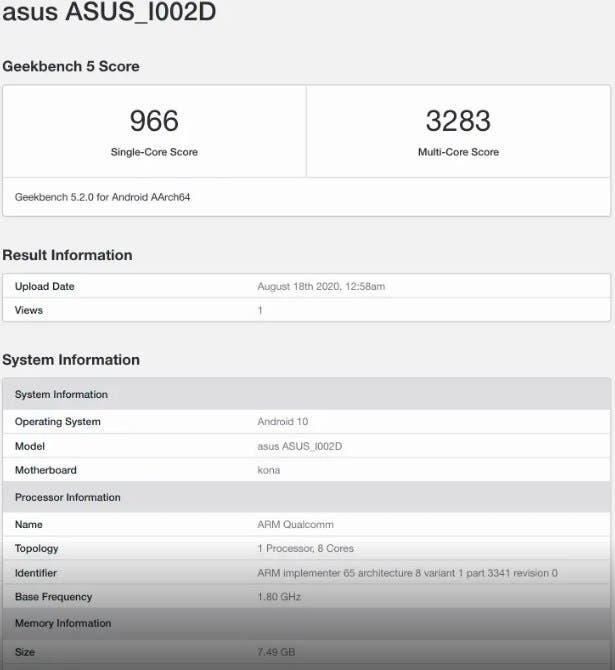 Asus ZenFone 7 Pro Geekbench