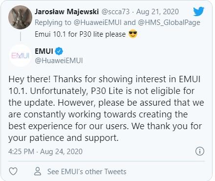 Huawei P30 Lite EMUI 10.1 güncellemesi