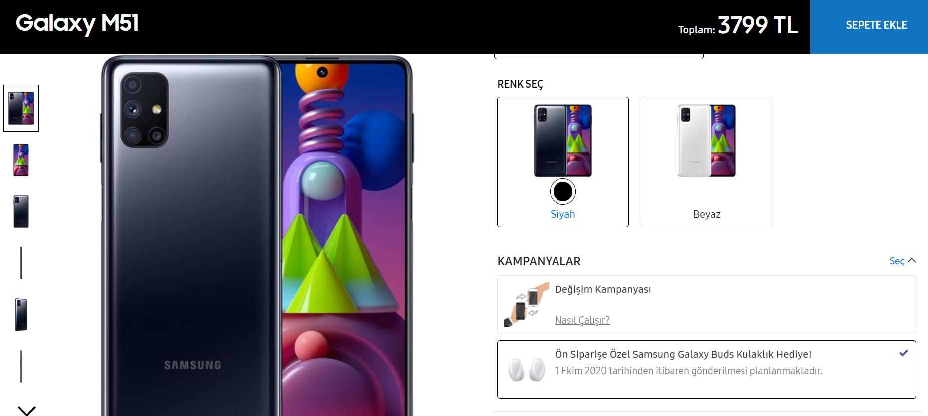 Samsung Galaxy M51 ülkemiz fiyatı