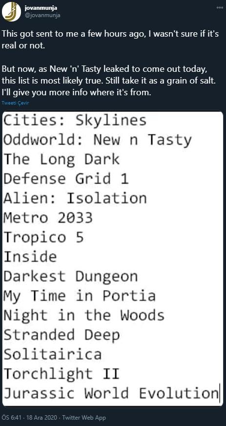 Epic Games ücretsiz oyun listesi yeni