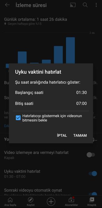 youtube uyku özelliği