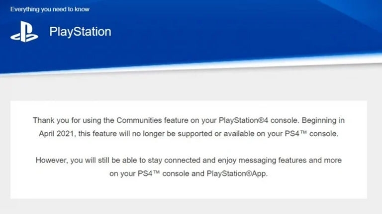 PS4 community feature